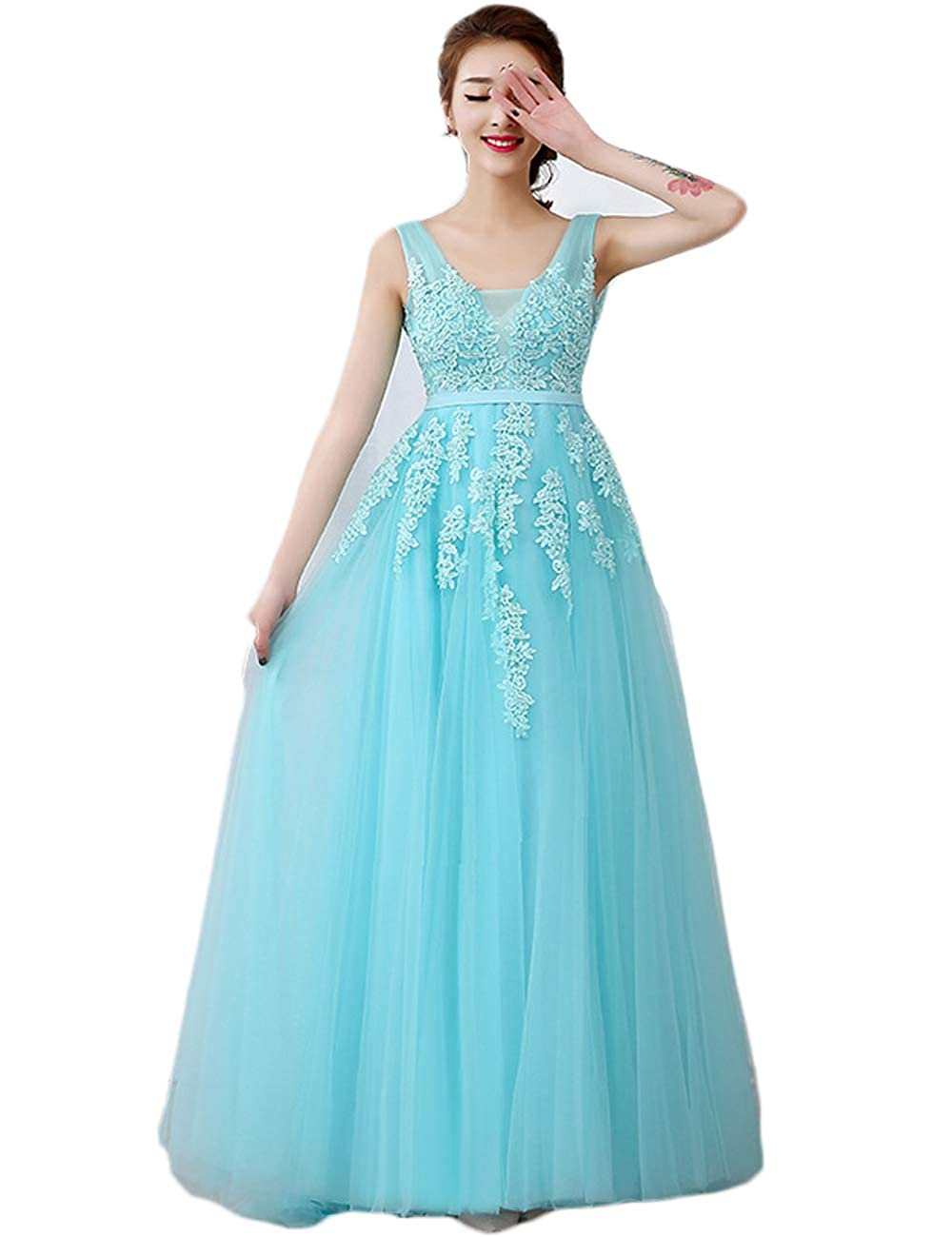 Green ritz intimate Women Sheer Lace Evening Gowns VNeck Elegant Backless Dress