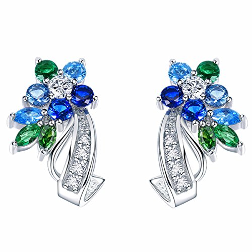 BAMOER White Gold Plated Flower Design Multicolor Cubic Zirconia Stud Earrings for Women Girls CZ Jewelry Multicolor CZ ()