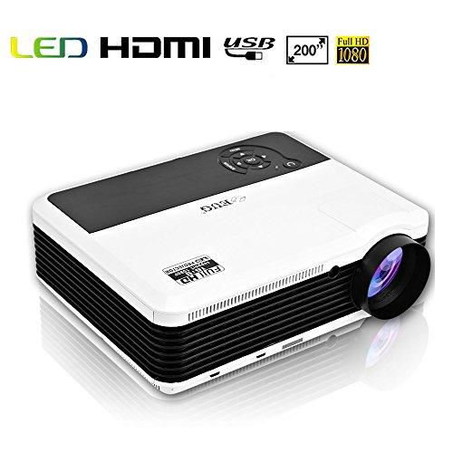 EUG HD 1080P Multimedia LCD Projectors Home Theater Cinema Outdoor Movies, Dual HDMI USB VGA AV Ypbpr Audio, 3600 Lumen 200