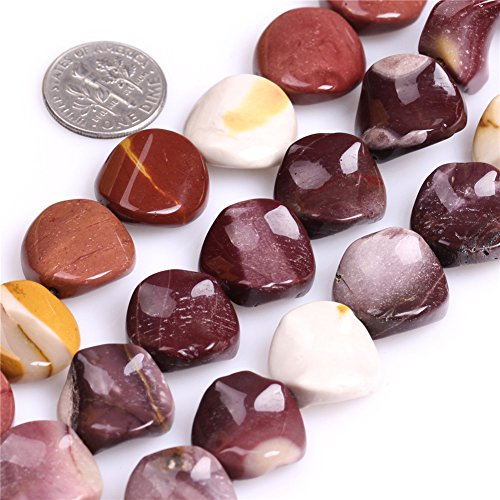 Jasper Multi Strand - 16mm Natural Semi Precious Coin Twist Mookaite Jasper Gemstone Beads for Jewelry Making Strand 15