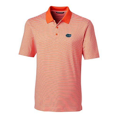 Cutter & Buck NCAA Florida Gators Men's Short Sleeve Tonal Stripe Forge Polo, College Orange, - Ncaa Florida Gators Stripes