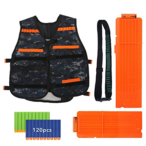 Bullet Jacket (Tactical Vest Kit for Nerf N-Strike Elite Series – Camouflage/Black Jacket, 120pcs Bullets, 12-dart+18-dart Reload Clip, 20-dart Bandolier ( Color : Camouflage Oxford Cloth ))