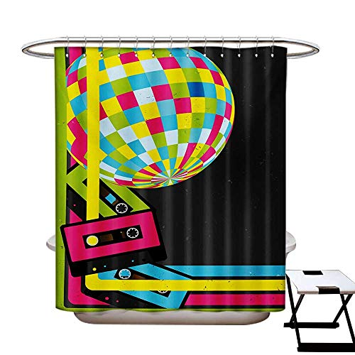(BlountDecor Popstar Party Shower Curtain Collection by Retro Party Theme Disco Ball 80s Style Audio Cassette Tapes Colorful Stripes Patterned Shower Curtain W36 x L72 Multicolor)