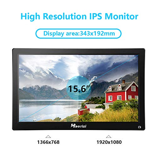 Haorizi 15.6'' inch 1920x1080 IPS HDMI LED CCTV Monitor Screen with HDMI/AV/VGA/BNC/USB Input for PC Security Camera Built-in Dual Speakers Wall Bracket and Remote Control by Haorizi (Image #1)