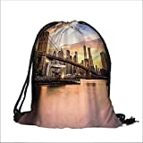 printing Drawstring Gift Bag Cityscape Bathroom with Hooks for Travel,Family,Dorm 13.5''W x 16''H