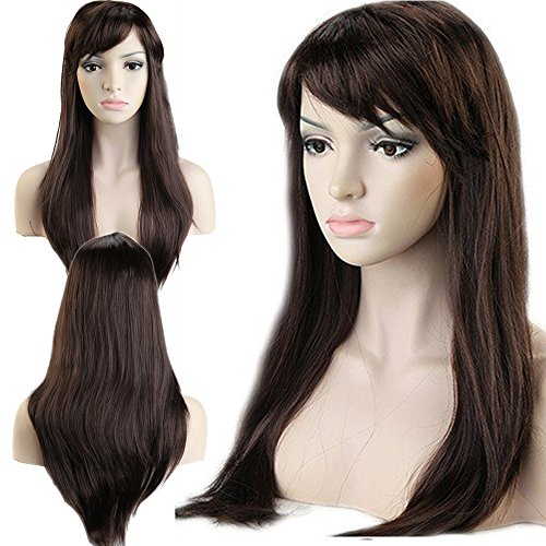 Halloween Dance Party Costumes (Dancing Party Wig Cosplay Wigs Synthetic Long Curly Straight Full Costume Wig with Bangs and Cap Halloween Wigs for Women Men Girl Boy Teens (20