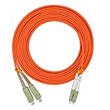 Jeirdus 5Meters 16ft LC to SC Duplex 50/125 OM2 Multi-mode Fiber Optic Cable Jumper Optical Patch Cord LC-SC