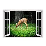 Alonline Art - Deer On The Countryside Fake 3D Window Framed Stretched Canvas (100% Cotton) Gallery Wrapped - Ready to Hang | 39''x28'' - 100x71cm | Frame Framed Paintings Framed Decor for Bedroom