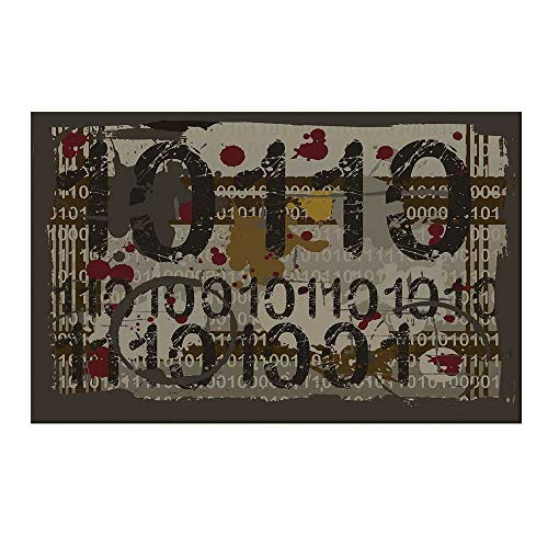 YOLIYANA Modern Durable Door Mat,Binary Grunge Background with Acid Etched Numbers Murky Chaotic Graphic Decorative for Home Office,17.7