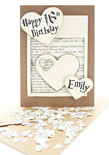 handmade 5x7 personalised birthday cards with mini heart confetti made from genuine harry potter books - Personalised Birthday Cards