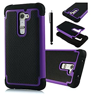 MOLLYCOOCLE 2in1 Series PC + TPU Combo Case Cover Skin Shell for LG G2 + 1x Black Capacitive Stylus Pen (Purple)