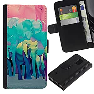 UberTech / Samsung Galaxy S5 V SM-G900 / Elephant Teal Blue Africa Animals / Cuero PU Delgado caso Billetera cubierta Shell Armor Funda Case Cover Wallet Credit Card