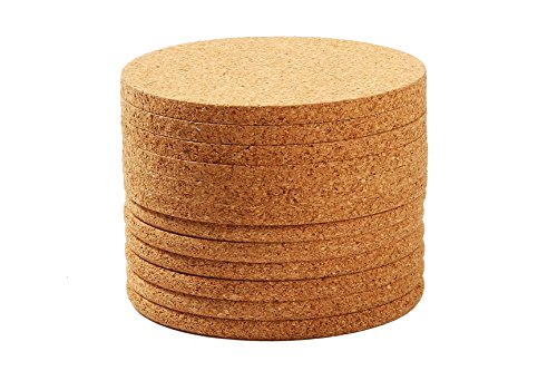 Coasters - Absorbent Cork Drink Coasters - Set of 12 - 4in by 1/4in