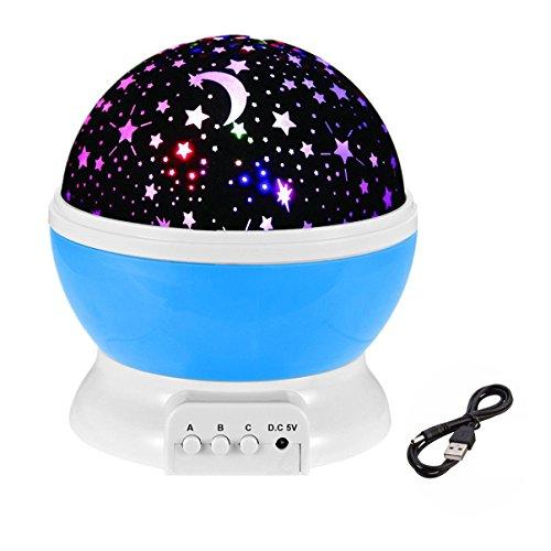 ELSKY Night Lighting Lamp [ 4 LED Beads, 3 Model Light, 4.9 FT (1.5 M) USB Cord ] Romantic Rotating Cosmos Star Sky Moon Projector, Moon Star lighting Lamp for Baby Nursery Bedroom Children Room