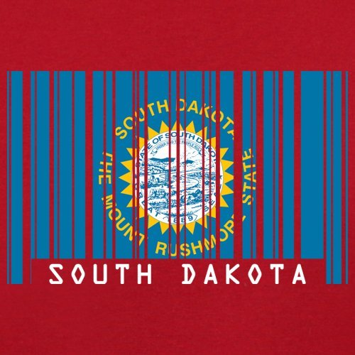 South Dakota / Süd-Dakota Barcode Flagge - Herren T-Shirt - Rot - XL