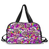 FOR U DESIGNS Purple Cat Pattern Travel Gym Duffel Bag Canvas Outdoor Handbag for Women