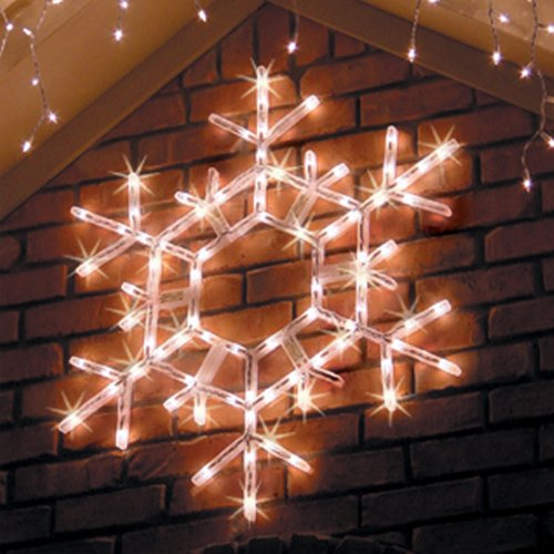kringle traditions 36 led folding twinkle snowflake christmas decoration cool white lights outdoor lighted snowflake lighted outdoor snowflakes - Large Outdoor Christmas Decorations