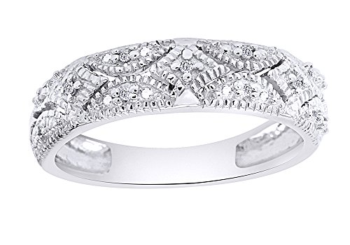 Diamond Bands Gemstone (Christmas Sale Sterling Silver Diamond Band Ring (1/20 cttw, I-J Color, I2-I3 Clarity))