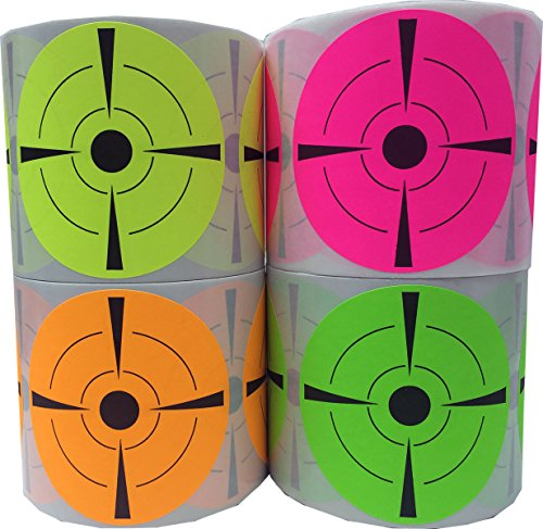 Fluorescent Target Stickers Bulk Pack Flo Green Flo Yellow Flo Orange Flo Pink 400 Adhesive Paper Shooting Targets 3 Inch Round Target Pasters by InStockLabels.com