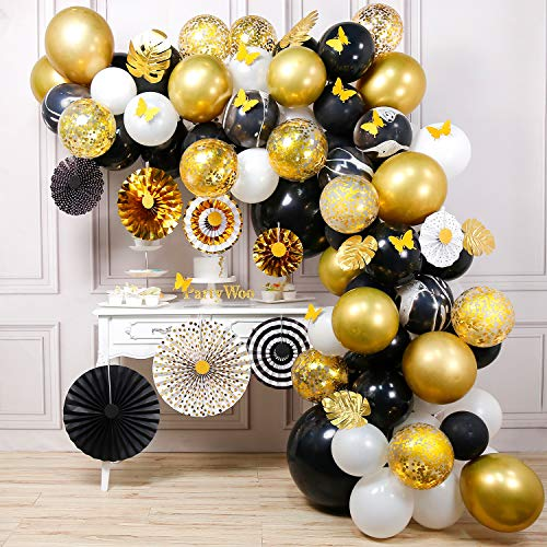 Masquerade Balloon Decorations (PartyWoo Gold and Black Balloon Garland Kit, 135 pcs of 8 Paper Fans, 5 Gold Leaves, 10 Gold Butterflies, 2 Jumbo Black Balloons, 5 Marble Balloons, Black White Gold Balloons)