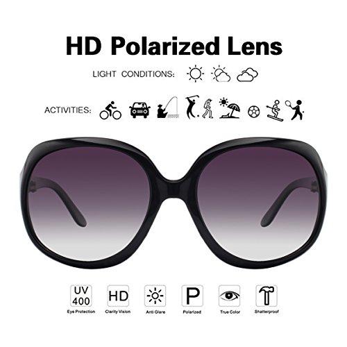 Oversize carré Black Frame Femme lunettes Smoke Gradient de Lens vivienfang polarisées p1981 soleil 1acXTpqUU