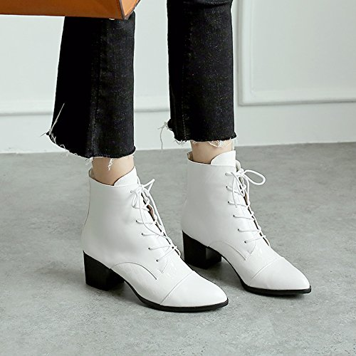 Women Meotina Ankle up Shoes Boots Winter Boots White High Heel Heel Lace Block SwAdqrwO