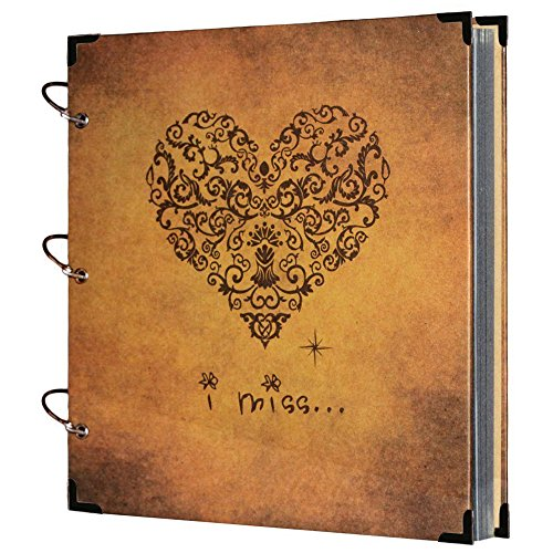 SICOHOME Scrapbook I Miss Printed 10.5x10inch Vintage Style Scrapbook Album Recording Gifts,Wedding Guestbook,Travel Book ()