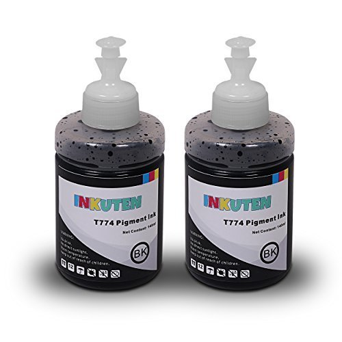 INKUTEN Set of 2 Refill Ink Kit 140ml T-2500 ET-2550 ET-4500 ET-4550 L100 L110 L120 L200 L210 L300 L350 L3Pigment for 774 T774 T7741 for Ecotank E55 L550 L555 (Pigment Ink Refill Bottles)