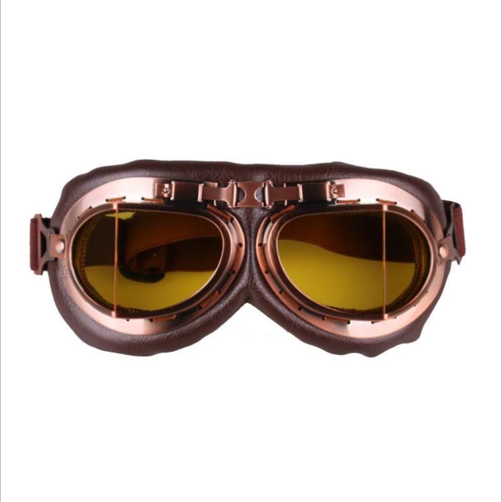 Gafas para Casco,Yellow Gafas De Aviador MOIMK Gafas De Moto Retro Vintage Gafas De Protecci/ón Gafas Piloto Gafas De Protecci/ón