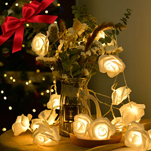LOLStar Valentine's Day String Lights 10FT 20 LED Rose Flower LED Lights Battery Operated for Wedding Party Birthday Girl's Bedroom Indoor Decorations Large Rose Diameter 2.7inch