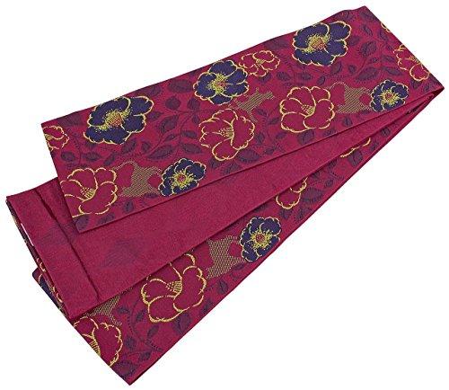 ファウル旋律的うまくいけば半幅帯 長尺 レディース 椿模様 赤紫色 リバーシブル 日本製 N2627