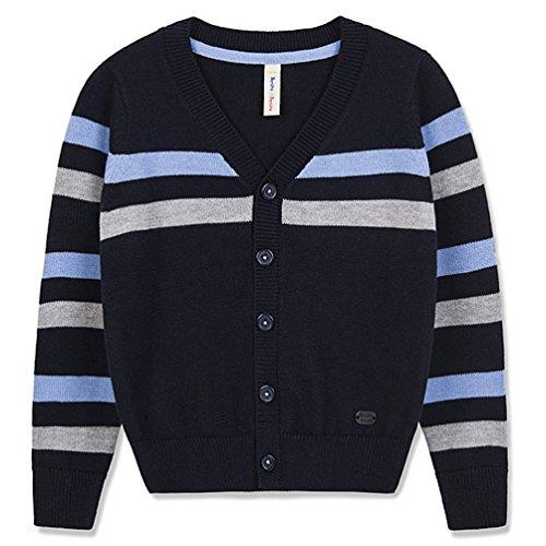 Stripe V-neck Cardigan - Benito & Benita Boys' Cardigan Sweater V-Neck School Uniform Wool Stripes Sweater for 2-12Y