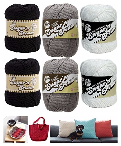 Lily Sugar n' Cream Variety Assortment 6 Pack Bundle 100% Cotton Black White Grey Medium 4 Worsted with 3 (Black And White Crochet)