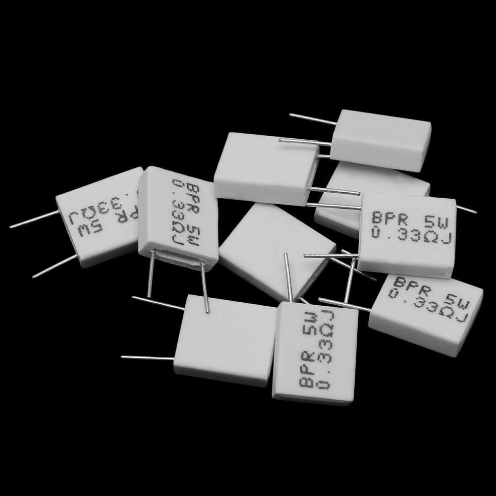 10 Piezas 0,33R 5 W 5% Resistencia de Cemento Resistencia eléctrica 0,33R 0,33Ohm Resistencia no inductiva BPR56