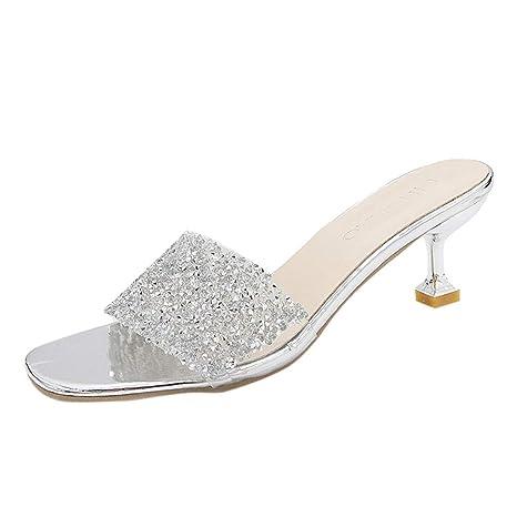 f575d26d52b52 Hunzed Women【Sequin Sandals】 Women's Shiny Stiletto Casual ...