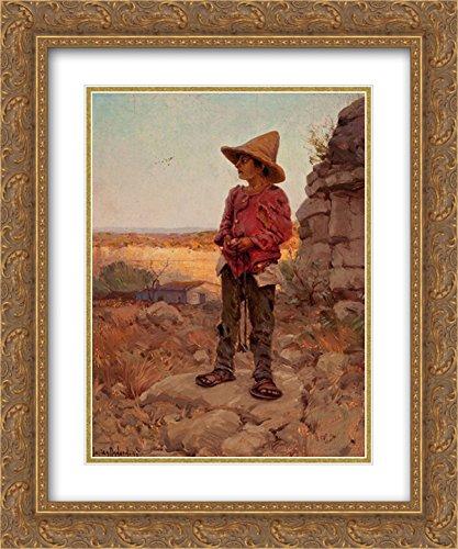 Robert Julian Onderdonk 2x Matted 20x24 Gold Ornate Framed Art Print 'Goat Herder at the San Antonio - San Quarry Antonio