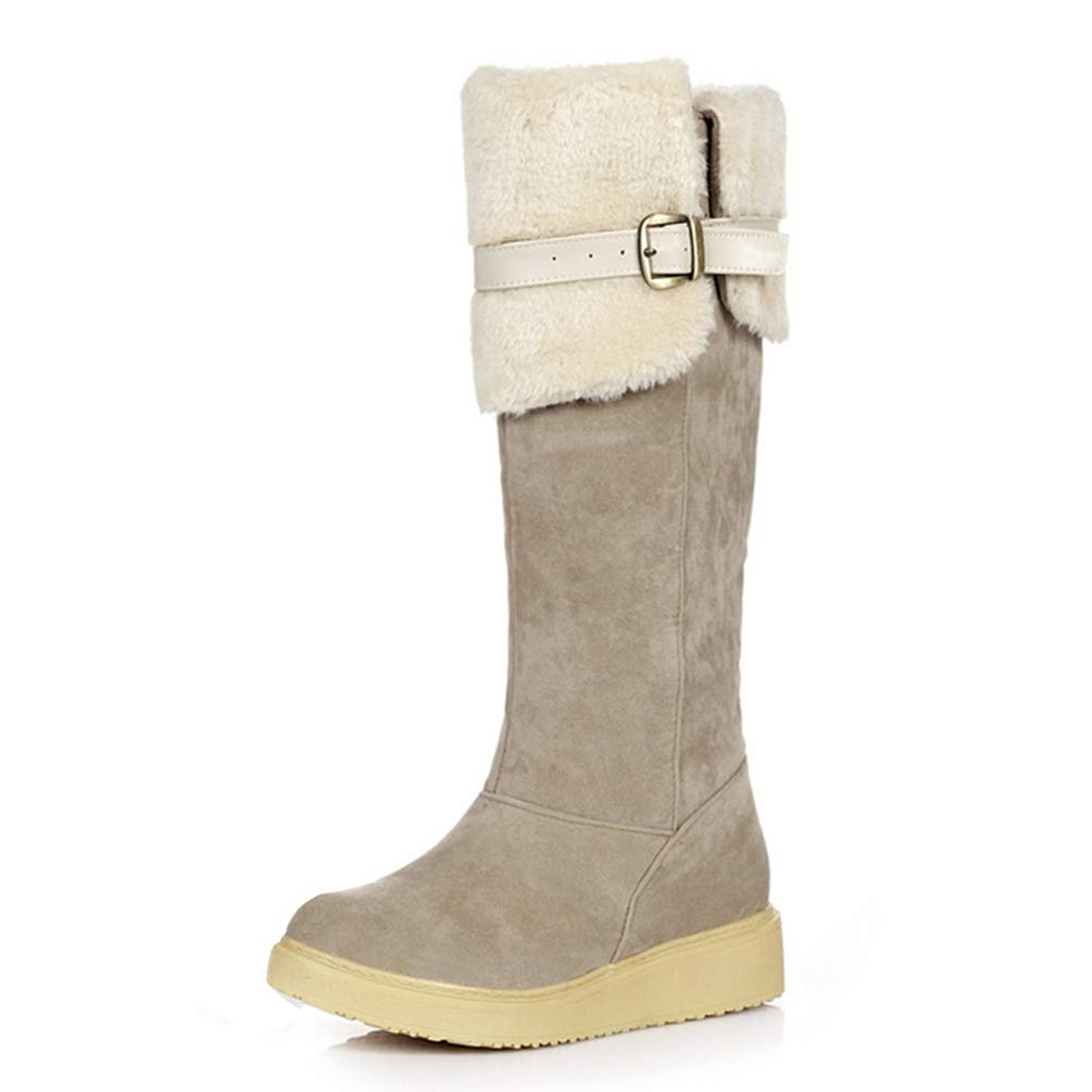 Apricot T-JULY Plus Sizes 34-43 Women's shoes Woman Knee-High Boots Winter Snow Boots Woman Keep Warm Plush shoes