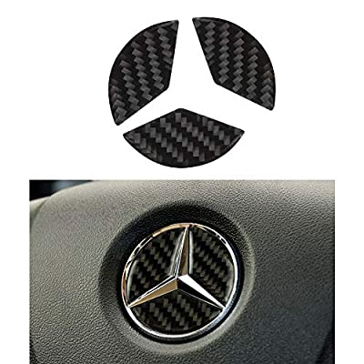 1797 Compatible Steering Wheel LOGO Stickers for Mercedes Benz Accessories Parts A B C E S CLA GLA GLC GLE Class W204 W212 Carbon Fiber Decals Caps Interior Decorations Women Men Black 1.77in 45mm: Automotive