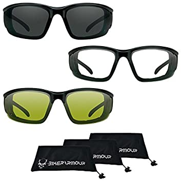 Best Deal! 3 Pairs Combo Motorcycle sunglasses Foam Padded Biker Riding Glasses Large Fit