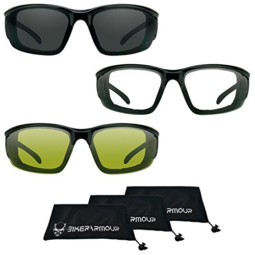 Motorcycle sunglasses Foam Padded Biker Riding Glasses Large Fit. 3 Pairs Combo. Best - Sunglasses Best Motorcycle Riding
