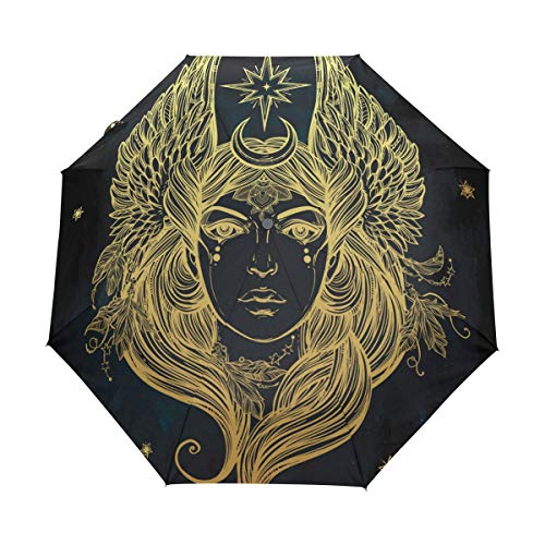 YoKII Pretty Angel Illustration 3 Folds Auto Open Close Anti-UV Compact Travel Umbrella