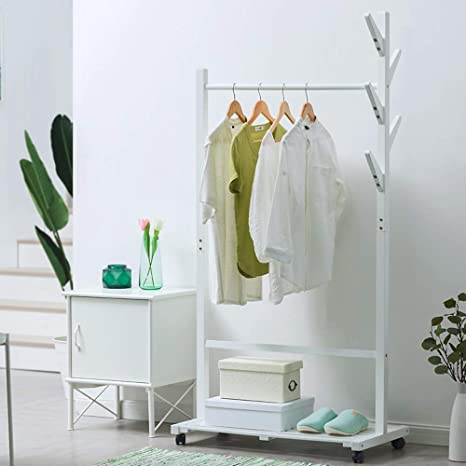 Amazon.com: Coat RACK Feifei - Perchero 2 en 1 con polea ...