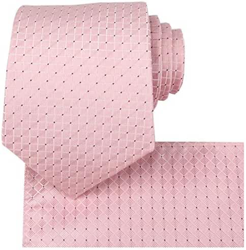 KissTies Mens Solid Tie Set Wedding Party Necktie + Hanky + Gift Box