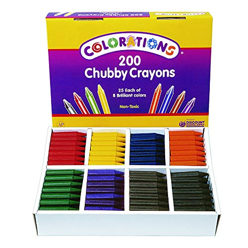 Colorations Chubby Crayons for Kids Set of 200 Rainbow Crayons Classroom Supplies (2-11/16''L x 9/16''Dia) by Colorations (Image #2)