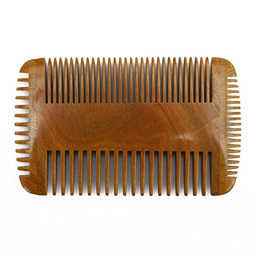 Meta-C Men's Portable Beard Comb – Handcrafted With Natural Green Sandal Wood – NO SNAG, NO TANGLE, NO STATIC – Four Sided Teeth With Wide Teeth  Fin…