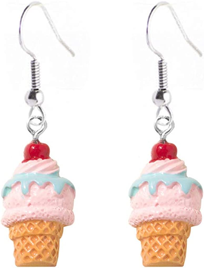 Cute Colorful Ice Cream Drop Earrings for Women Girls Little Pearl Ice Cream Dangle Earrings Creative Mini Dessert Jewelry