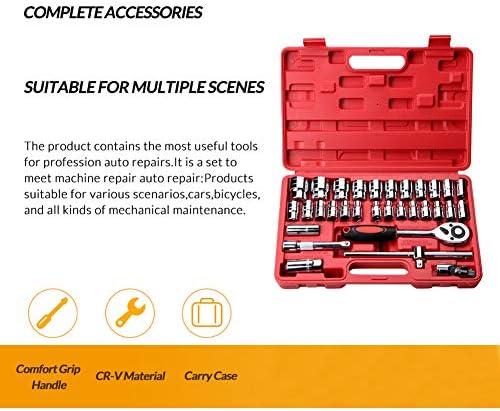力学ツールセット、 ドライブ標準ソケットレンチセット 32ピース 炭素鋼 ラチェットレンチツール 赤いツールボックスを使用 車の修理および機械修理のため (メトリック)