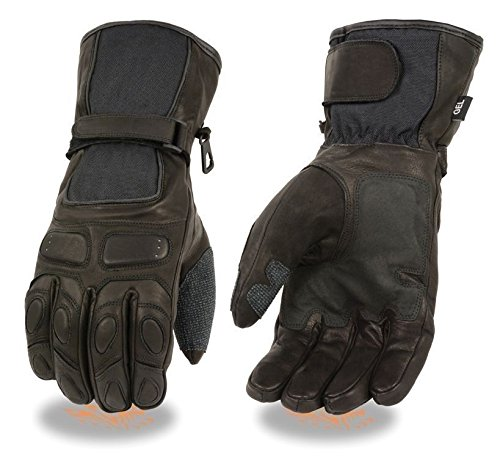 Milwaukee MEN'S MOTORCYCLE RIDING GLOVES WATERPROOF SOFT LEATHER COW REFLECTIVE PIPING NEW (2XL Regular)