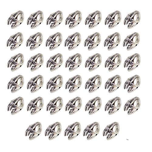 - Mystart 40 Pieces Antique Silver Alloy Helmet Loose Beads Charms DIY Jewelry Bracelet Spacer Beads Accessories