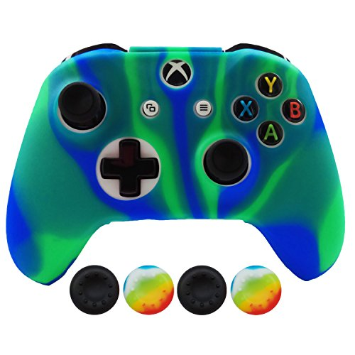 Hikfly Silicone Controller Cover Skin Protector Case Faceplates Kits for Xbox One X / One S/Slim Controller with 4pcs Thumb Grips Caps(Bluegreen)